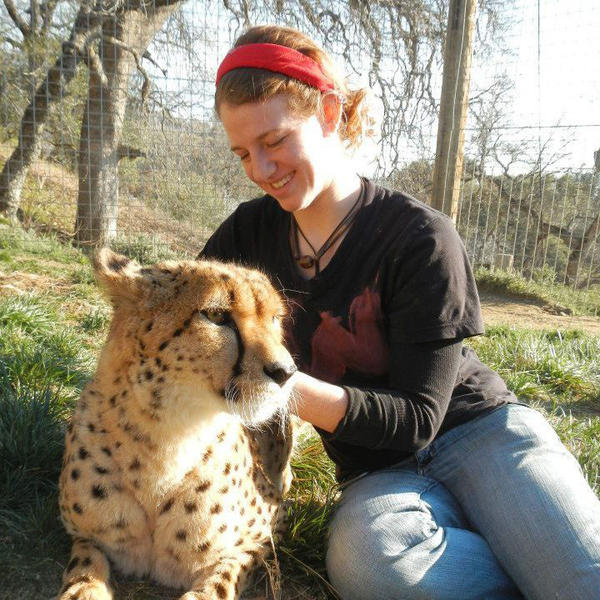 This photo provided by Project Survival's Cat Haven shows Dianna Hanson, an intern at Cat Haven near Dunlap, Calif., who was attacked by a lion and fatally injured March 6.