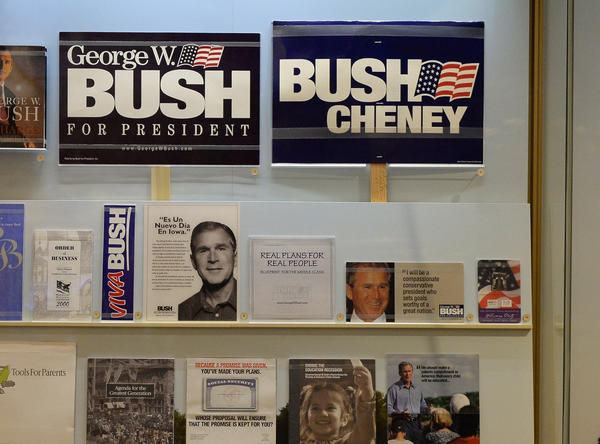 A display of presidential campaign memorabilia is seen at the George W. Bush Presidential Center on the campus of Southern Methodist University in Dallas, Texas.