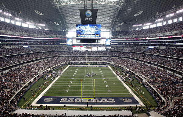 The Dallas Cowboys host the St. Louis Rams in a game at Cowboys Stadium.
