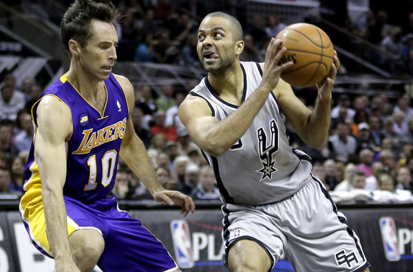 Spurs point guard Tony Parker showed no signs during Game 2 of the sore ankle that slowed him at the end of the regular season, while Lakers point guard Steve Nash and his backcourt teammates are nursing more injuries.