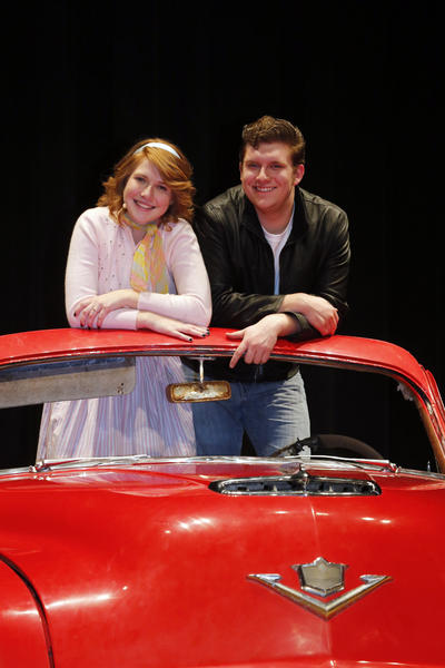 "Ashley Farrand, left and Nick Brandt, right, are Sandy and Danny in the Aberdeen Central High School production of ""Grease"". photo by john davis taken 4/23/2013"
