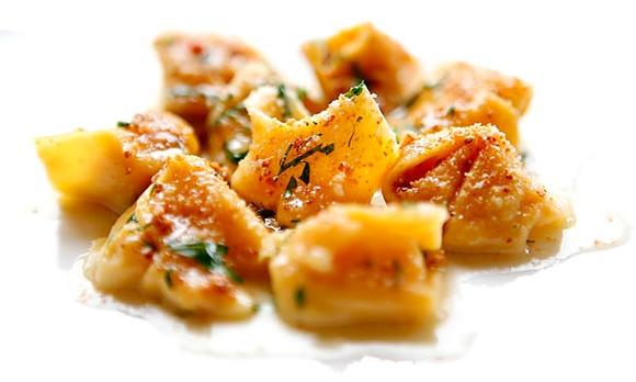 <i>Cappellacci</i> stuffed with pumpkin.