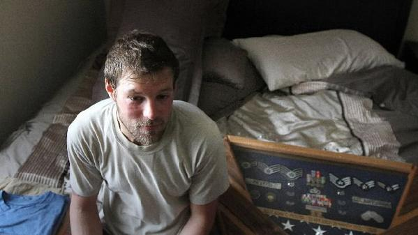 30-year-old Iraq War veteran Adam Peters was stationed near a mortuary in Baghdad and watched scores of bodies trucked in. Now living with his mother in Boca Raton, he has anxiety, stress, depression and insomnia.