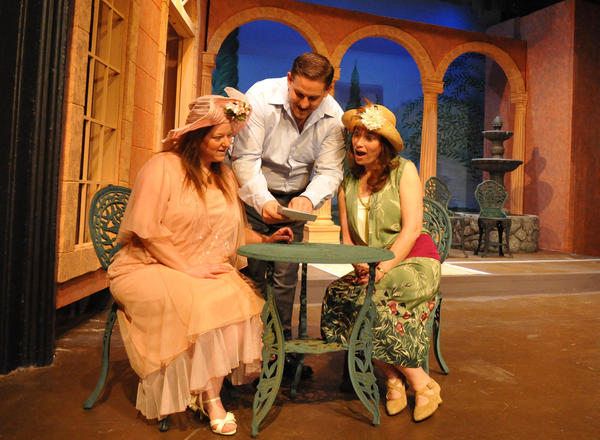 "Rose (Valerie Ong) and Lotty (Annette Kaczanowski) are amazed at all of the sights and adventures awaiting them at the villa theyre renting from Mr. Wilding (Josh Padgett) in this scene from Elkhart Civic Theatres production of ""Enchanted April"" that will be presented April 26 to May 5, 2013, at the Bristol Opera House. (photo provided)"