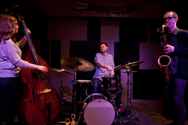 Saxophonist Dustin Laurenzi, drummer Andrew Green and bassist Katie Ernst are members of the Chicago based jazz trio Laurenzi/ Ernst/Green. They will perform at Merrimans' Playhouse on Saturday, April 27, 2013. (Photo provided)