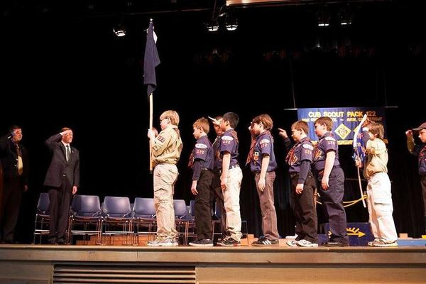 U.S. Sen. Richard Blumenthal, at left saluting, spoke at a recent ceremony in Avon recognizing local Cub Scouts.