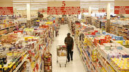 Stock in the the parent of Dominick's supermarkets fell as much at 20 percent Thursday after  first-quarter sales at the grocery chain missed forecasts.