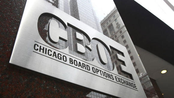 The Chicago Board Options Exchange sign is seen in a 2010 file photo.