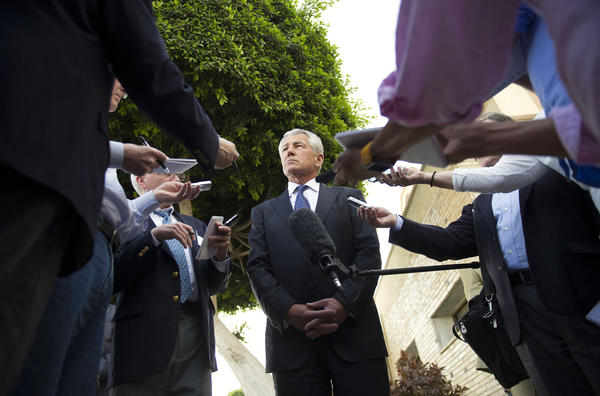 Secretary of Defense Chuck Hagel, shown speaking with reporters in Cairo on Wednesday, announced on Thursday in Abu Dhabi that U.S. intelligence has concluded Syria used chemical weapons to combat an uprising.