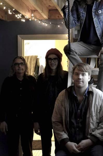 Nude Sunrise, Chicago band: James Lechocki, Lukas Wolever, Padraig Steadman on ladder above Nathan Gregory.