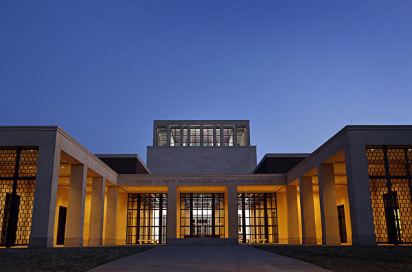 Evening sunsets over the front entrance to the George W. Bush Presidential Library and Museum, in University Park, Texas.