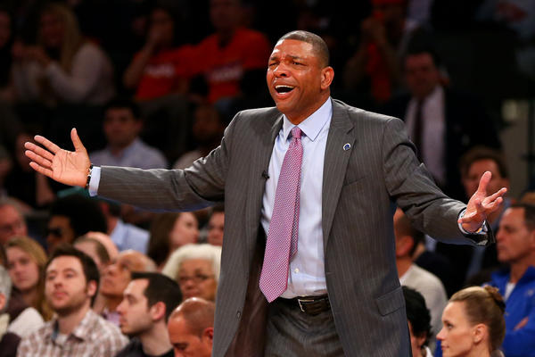 Boston Celtics head coach Doc Rivers reacts on the sidelines against the New York Knicks.