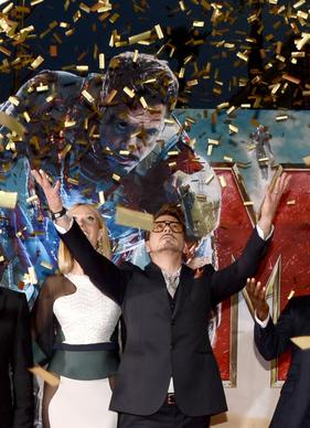 "Robert Downey Jr. makes an entrance at the premiere of ""Iron Man 3"" at Hollywood's El Capitan Theatre."