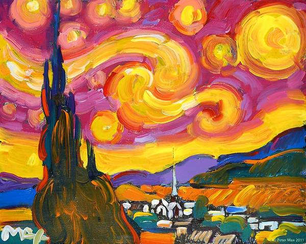 "Peter Max interprets famous works, including Van Gogh's ""Starry Night,"" in his signature style. He will be in Orlando on Saturday."