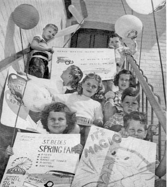 Students at La Canadas new parochial school in April 1953 hold posters inviting the community to the St. Bede Spring Fair. Money raised during the event would be used for the schools building fund.