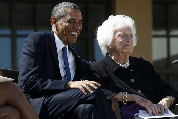 President Obama joins former First Lady Barbara Bush at the dedication of the George W. Bush presidential library.