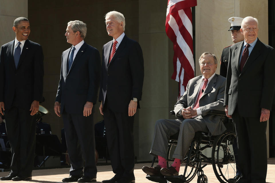 President Obama, along with former presidents George W. Bush, Bill Clinton, George H.W. Bush and Jimmy Carter, attends the opening ceremony of the George W. Bush Presidential Center.