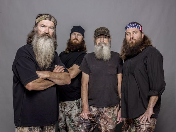 "Phil Robertson, from left, Jase Robertson, Si Robertson and Willie Robertson from the A&E series ""Duck Dynasty."""