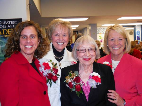 From left, Olive-Mary Stitt Principal Becky FitzPatrick; and former Olive principals Linda Burkhard, Mary Stitt and Marybeth Anderson attend the anniversary celebration.