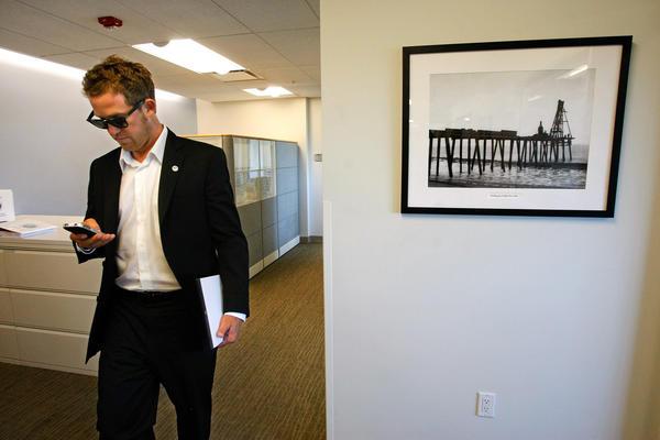 Councilman Skylar Peak makes his way to a meeting at Malibu City Hall in May 2012.