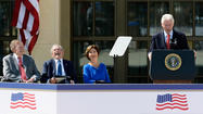 DALLAS -- When five presidents assembled at Southern Methodist University on Thursday for the dedication of George W. Bush's presidential center they traded wit and smiles, earning approval from the conservative crowd.