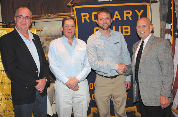 From left, Assistant Rotary District Gov. David Hanlin, Hagerstown Rotary President-elect Mike Johnston, Hagerstown Mayor David S. Gysberts and Long Meadows Rotary Club President Ron Bowers.