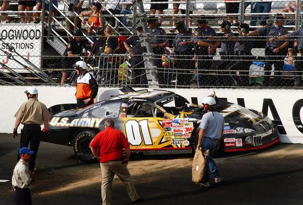 JOE FUDGE/Daily Press file photo Jerry Nadeau crashed after qualifing had finished. Nadeau had to be cut out of the car due the crash impact.