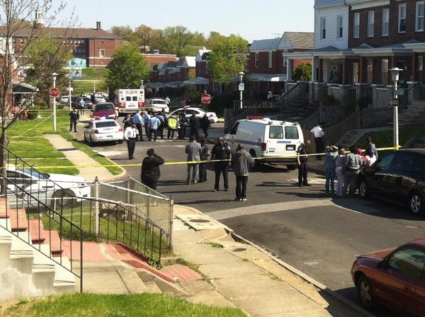 Two men were shot, killing one in Baltimore's Belair-Edison neighborhood Thursday.