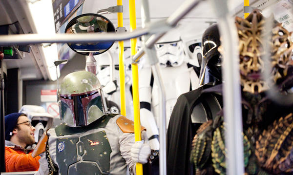 "Members of the Midwest Garrison of the 501st Legion, a ""Star Wars"" cosplay group. take a CTA bus during a RedEye photo shoot."