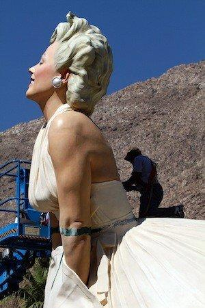 "A worker puts the finishing touches on ""Forever Marilyn"" as the statue was installed in Palm Springs last May."