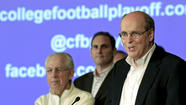 "College football commissioners were going to end their three-day unity conference in Pasadena with a round of ""Kumbaya"" at the hotel's valet carport. That was before the consulting firm that dreamed up ""College Football Playoff"" suggested something more generic from ""The White Album."""