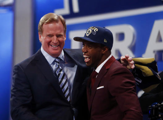 Tavon Austin (West Virginia) is introduced by NFL commissioner Roger Goodell as the number eight overall pick to the St. Louis Rams during the 2013 NFL Draft at Radio City Music Hall.