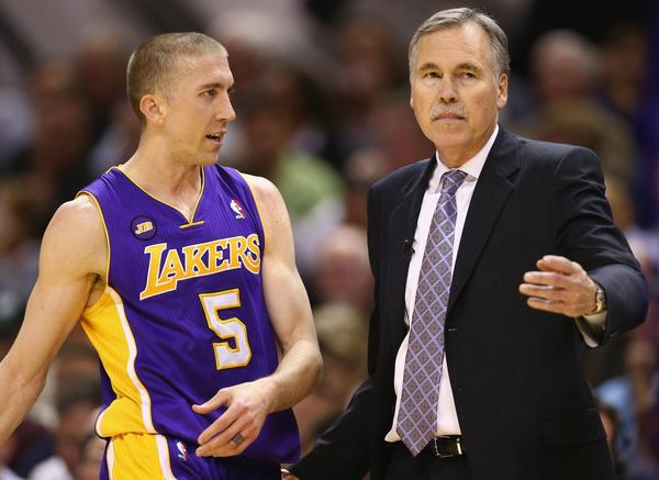 Lakers Coach Mike D'Antoni will be without veteran guard Steve Blake for Game 3 of their playoff series against the Spurs on Friday night. Guards Steve Nash and Jodie Meeks are also questionable.