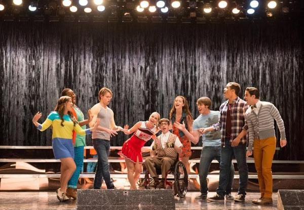 "GLEE: The Glee club performs in the ""Lights Out"" episode of GLEE airing Thursday, April 25 (9:00-10:00 PM ET/PT) on FOX. 2013 Fox Broadcasting Co. Pictured L-R: Jenna Ushkowitz, Alex Newell, Chord Overstreet, Becca Tobin, Kevin McHale, Melissa Benoist, Blake Jenner, Jacob Artist and Darren Criss. CR: Eddy Chen/FOX"