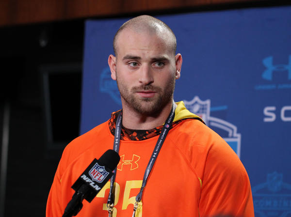 Oregon offensive lineman Kyle Long speaks at a press conference during the 2013 NFL Combine at Lucas Oil Stadium in February.