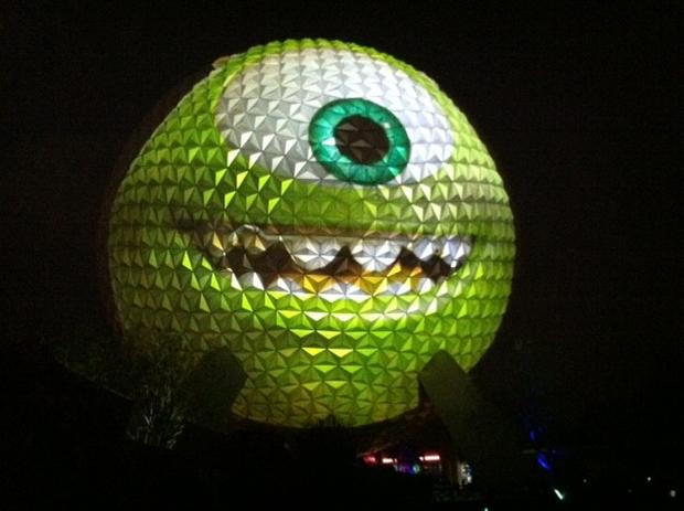 "The announcement that Magic Kingdom would be open for 24 hours straight again was make by ""Monsters University"" star Mike, who was projected onto Epcot's Spaceship Earth late Thursday."