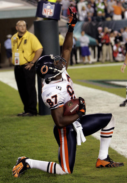Muhsin Muhammad reacts after scoring the winning touchdown after a 97-yard drive for the Bears against Philadelphia in 2007.