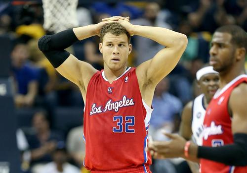Clippers power forward Blake Griffin (32) and point guard Chris Paul react after Griffin was called for a foul against the Grizzlies during Game 3 on Thursday night in Memphis.