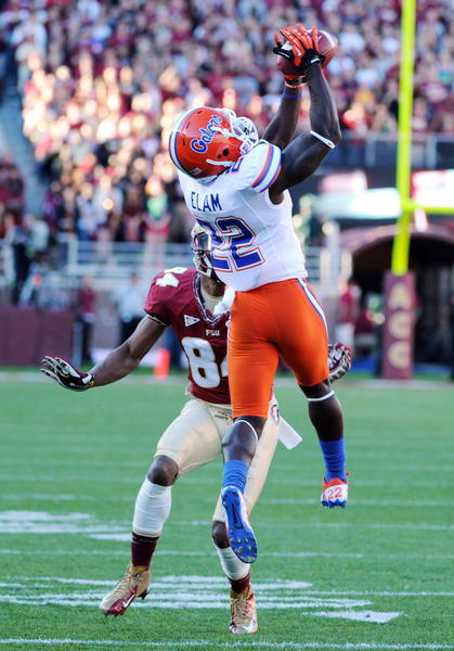 Florida defensive back Matt Elam intercepts a pass during the first half of game against Florida State at Doak Campbell Stadium.