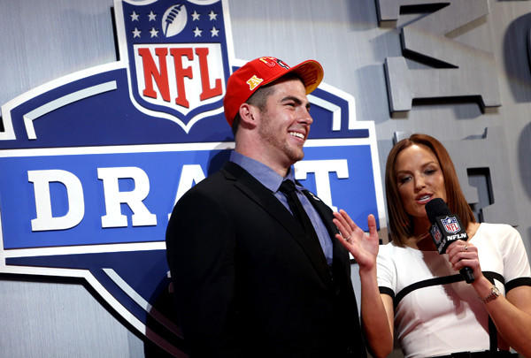 Central Michigan offensive tackle Eric Fisher is interviewed after he was selected by the Kansas City Chiefs with the first pick in the 2013 NFL draft on Thursday night in New York.