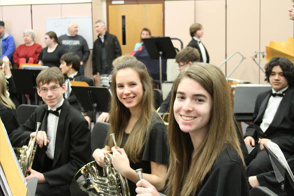 Boyne City High School french horn players (from left) Eli Korthase, Katelyn Skornia and Jill Solomon perform at the district band festival in February.