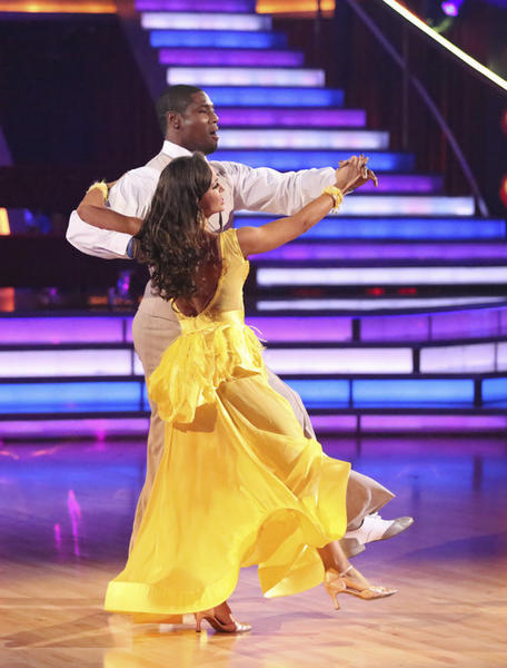 "Jacoby Jones and pro partner Karina Smirnoff compete during Week 6 of ""Dancing with the Stars."""