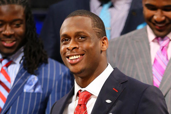 Geno Smith of the West Virginia Mountaineers stands on stage prior to the start of the first round of the 2013 NFL Draft at Radio City Music Hall Thursday.