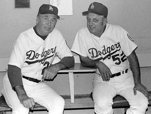 Walt Alston, left, with then third-base coach Tommy Lasorda in 1975.