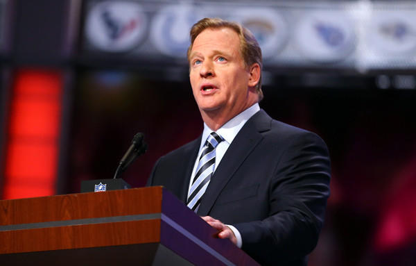 NFL commissioner Roger Goodell talks during the first round of the NFL draft Thursday.