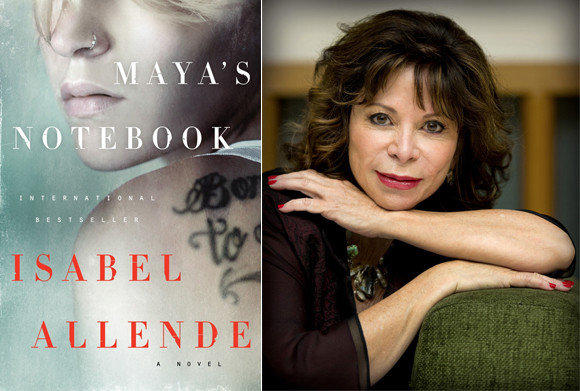"The cover of ""Maya's Notebook"" and author Isabel Allende."
