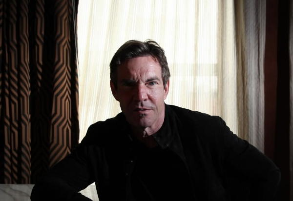 """Actor Dennis Quaid, star of """"At Any Price,"""" at Bernard's Bar inside Waldorf Astoria Hotel in Chicago."""