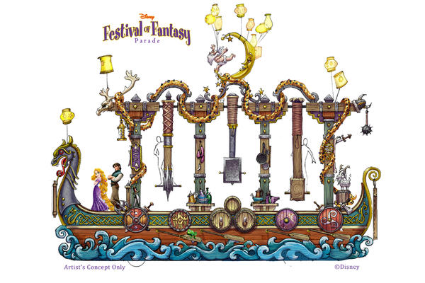 "The Festival of Fantasy parade will march into Magic Kingdom in spring 2014. Among the floats will be one dedicated to the Disney film ""Tangled."""