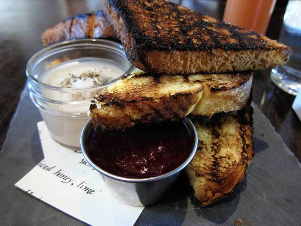 Fois Gras Mousse, Strawberry Jam, Toast $13, at Monarch. Phil Vettel/Chicago Tribune.
