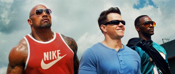 "Dwayne Johnson, Mark Wahlberg and Anthony Mackie in ""Pain and Gain."""